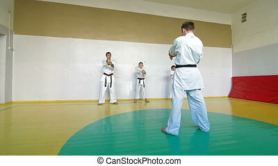 training martial arts - coach at the gym teaches children...