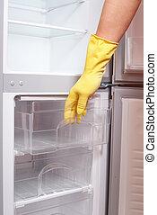 Hand opening refrigerator.