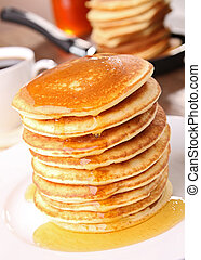 stack of pancakes and syrup - gourmet stack of pancakes and...