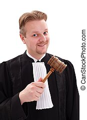 Funny judge hitting with gavel