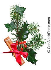 Christmas decoration with holly cinnamon and red bow - Photo...