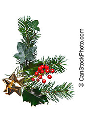 Christmas decoration with holly and gold bow - Photo of a...
