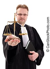 Judge showing scale of justice - Serious judge showing...