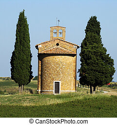 famous country church in Tuscany