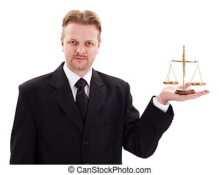 Serious lawyer holding justice scale