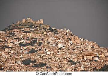 medieval town Agira, Sicily - historic architecture of...