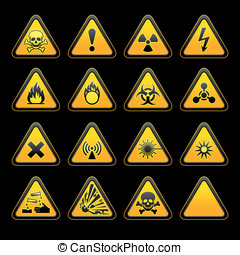 Set triangular warning signs Hazard symbols. vector