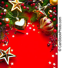 Design a Christmas greeting card with Christmas Decorations...