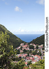 Saba Dutch Netherlands Antilles - village in valley on...