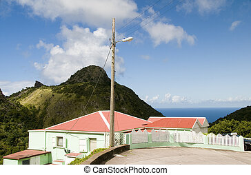 """typical house architecture style cottage  Saba Dutch Netherlands  Antilles Caribbean sea view on """"the road"""""""