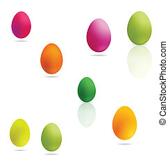 colored easter eggs set on the white