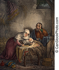 Baby Jesus with Joseph & Mary - From 1850 Perceptive...