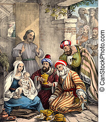 Wise men bring gifts to Baby Jesus - From 1850 Perceptive...