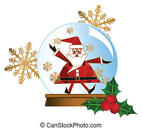 Santa Snow Globes - Illustration of a Santa snow globe with...