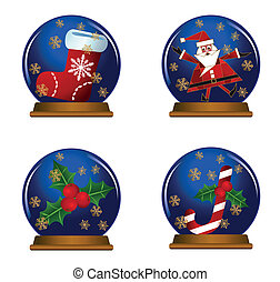 Snow Globes - Illustration of snow globes isolated on white...