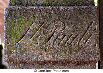 Ancient Stone Sign in St. Pauli, Hamburg, Germany - A...