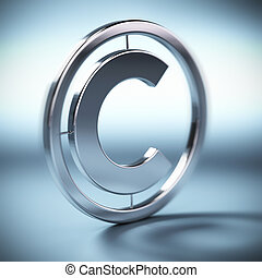 metal copyright symbol onto a blue background square image with blur
