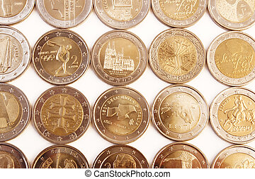 2 Euro coins - Obverse side of 2 Euro coins