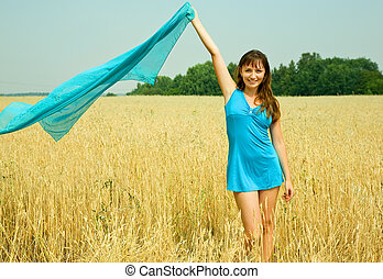 young woman in wheat field - Happy young woman in the wheat...