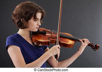 joven, hembra, juego, violín