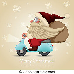 Speedy Santa Claus delivery the gift with motorcycle