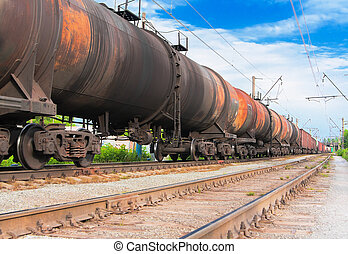 Big cargo transportation in tanks by rail
