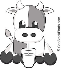 Cow drinking milk - Cute illustration of a calf drinking...