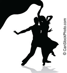 danse, couple, silhouette