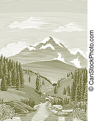 Woodcut River Scene - Woodcut style illustration of a...