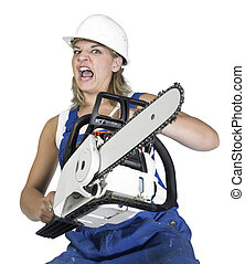 weird chain saw girl - angry girl dressed in workwear with...