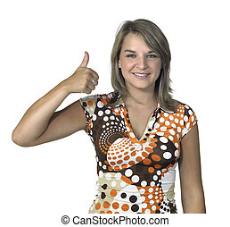 blond girl signalizing thumb up - long-haired girl portrait...