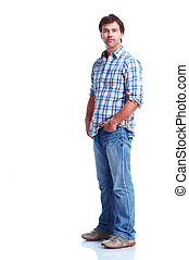 Happy man - Young happy man Isolated over white background...