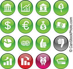 Money icons - Money set of circle glossy icons