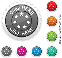 Click here award button Vector