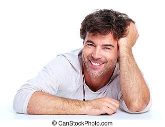 Happy man. - Young happy man. Isolated over white...