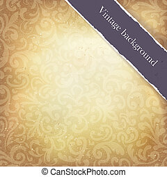 Vintage paper ornamented background with ribbon (space for text). Vector, EPS10