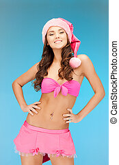 cheerful santa helper girl in lingerie - picture of cheerful...