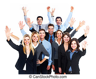 Happy Business people team Isolated over white background