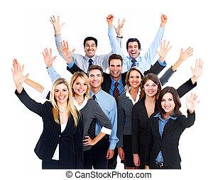 Feliz, negócio, pessoas, equipe