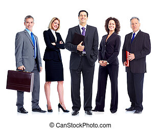 Business people team. Isolated over white background.