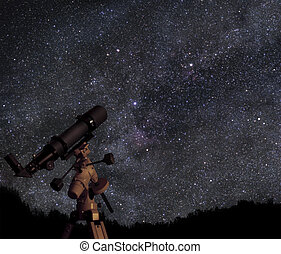 Discover the universe - A picture of telescope pointed at...