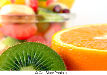 Fruit salad - Healthy fruit mix with fruits on front