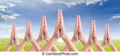 ponha, mãos, junto, saudação