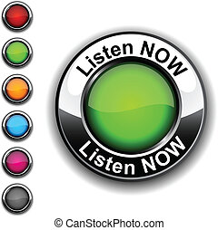 Listen now button. - Listen now realistic button. Vector.