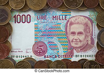 viejo, italiano, billete de banco, eur