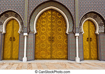 3 Ornate Brass,Tile Palace Doors - Closeup of 3 Ornate Brass...