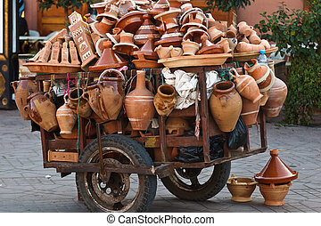 Pushcart loaded with pottery - Pushcart loaded with clay...