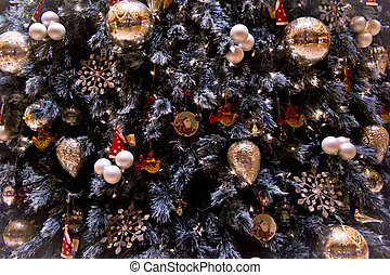 Christmas tree detail - Christmas ornaments detail for a...