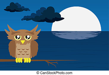 Nighttime Scene with Owl - Nighttime scene with owl and moon...
