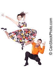 Dancers rock and roll - Studio photography on a white...